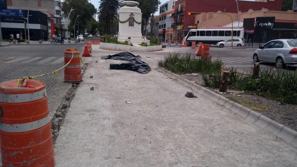 Parchan con concreto adoquín de la Juárez por obra hidráulica