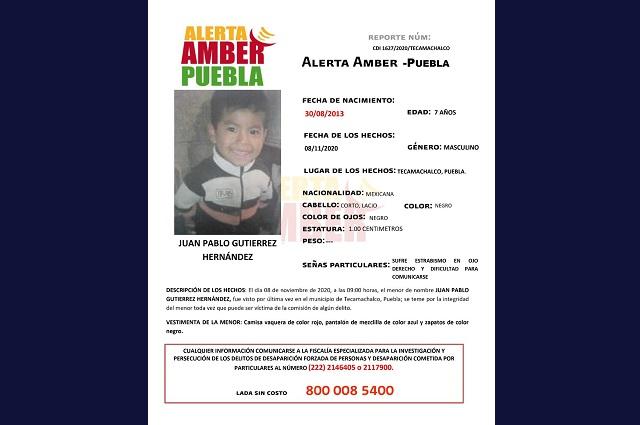 Activan alerta para localizar a menor desaparecido en Tecamachalco