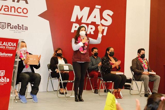 Claudia Rivera presenta informe de actividades en Juntas Auxiliares