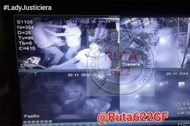Lady Justiciera somete a un ladrón e impide un robo en un autobús de Jalisco