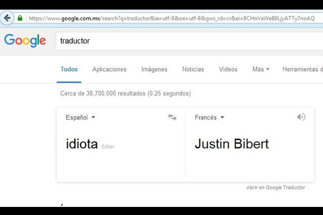 Para google, idiota en francés es Justin Bibert