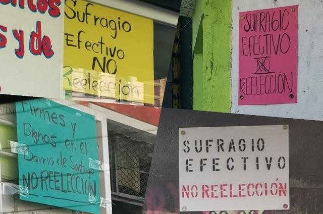Colocan cartulinas en rechazo a reelección de Karina Pérez en Cholula