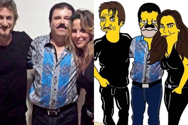 Viralizan imágenes de Kate del Castillo y el Chapo simpsonizados