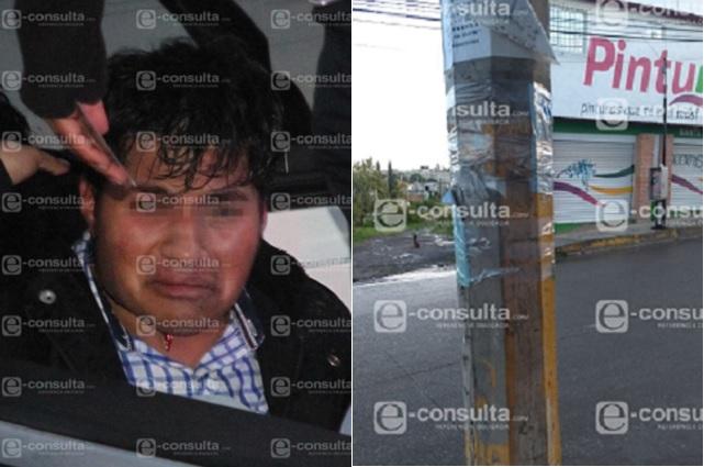 Ladrón golpeado y atado a un poste en junta auxiliar de Puebla