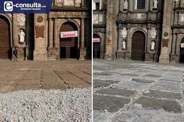Sólo preventivos, los parches  de grava en la Catedral: INAH