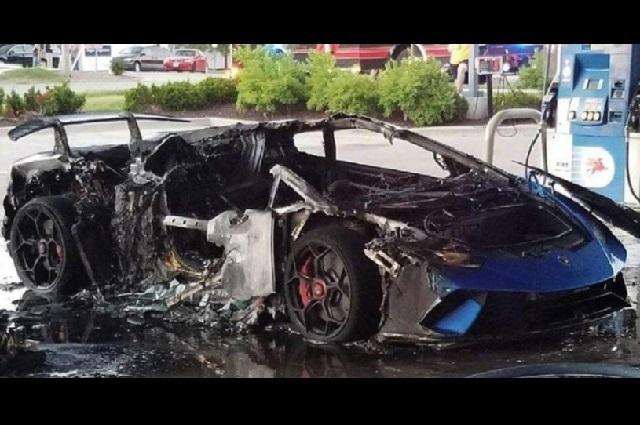 Fuego destruye Lamborghini y video revela quién causó el incendio