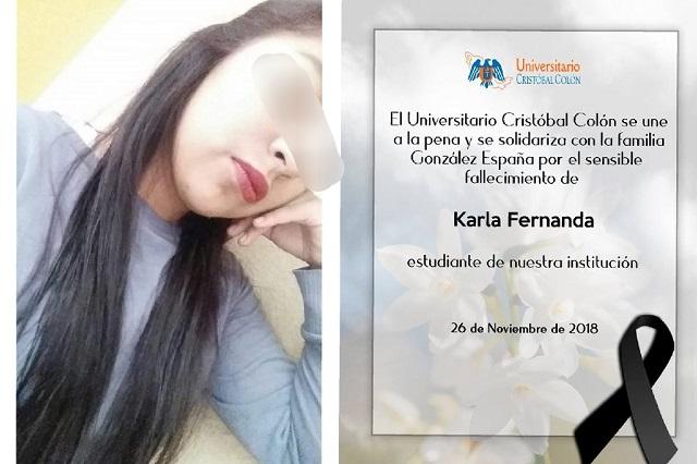 Universitario Cristóbal Colón lamenta el asesinato de su alumna Karla
