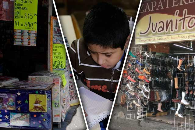 Ni con regreso a clases reviven papelerías y zapaterías de Puebla