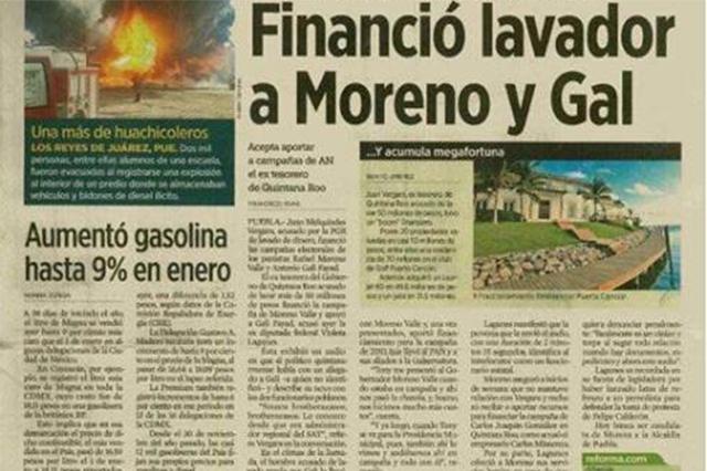 Audio revela que lavador financió a Moreno Valle y Gali
