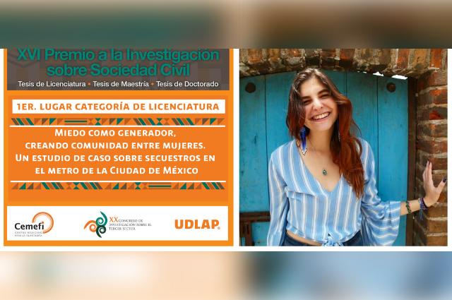 Egresada UDLAP, mejor tesis sobre experiencias de la sociedad civil