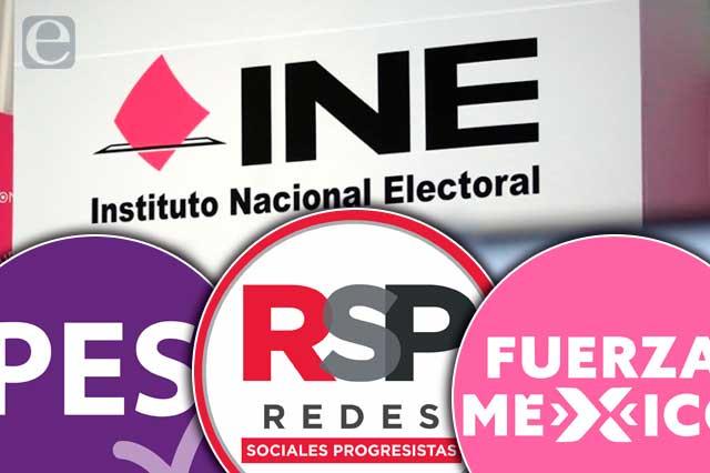 INE formaliza pérdida de registro de PES, RSP y Fuerza por México