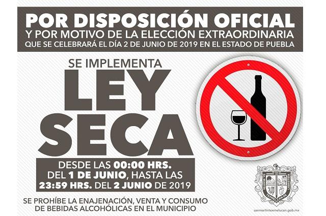 Ley seca en Texmelucan por las elecciones este fin de semana
