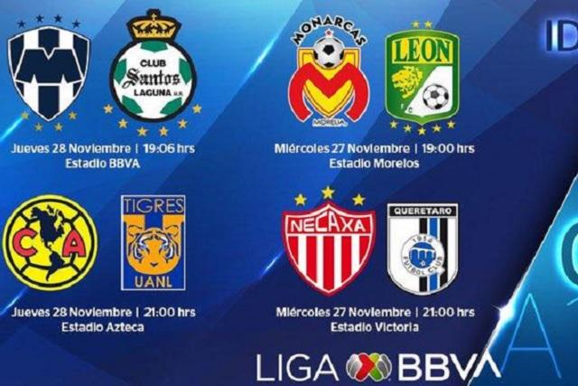 Monarcas y León jugarán a las 7 de la noche; América y Tigres a las 9