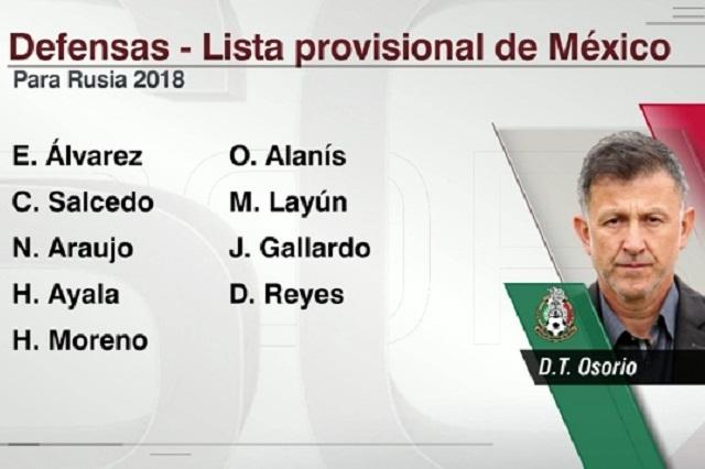 Revelan lista preliminar de jugadores de México con miras al mundial de Rusia