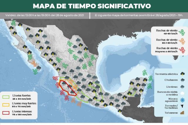 Chubascos y lluvias prevén para Puebla por huracán Nora