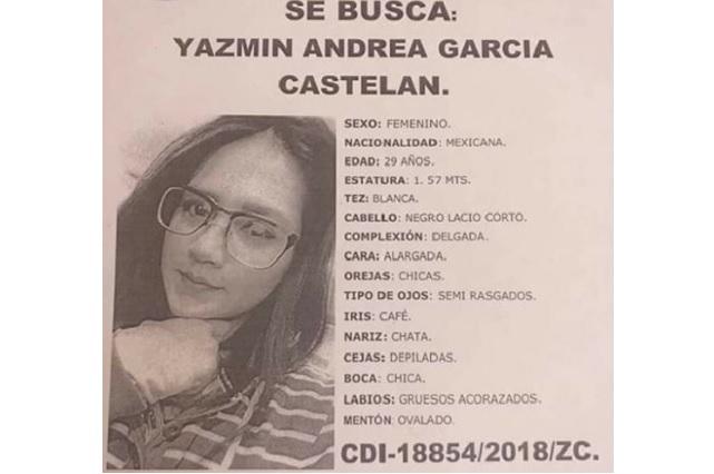 Piden ayuda para localizar a Yazmín Andrea García Castelán