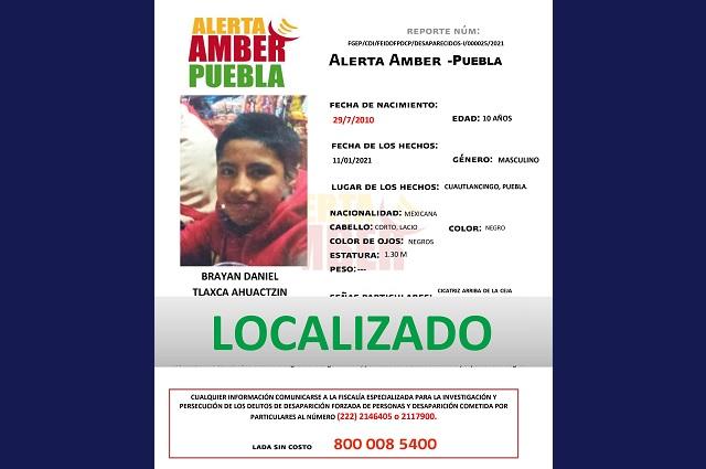 Localizan a menor de edad tras Alerta Amber en Puebla