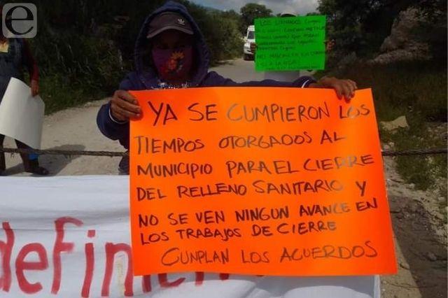 Otra vez bloquean relleno en Tehuacán por romper acuerdo