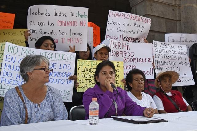 Ayuntamiento de Puebla protege a líder Gonzalo Juárez: trabajadores