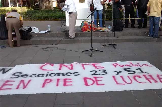 Maestros poblanos apoyan acciones de CNTE; hablan de paro nacional
