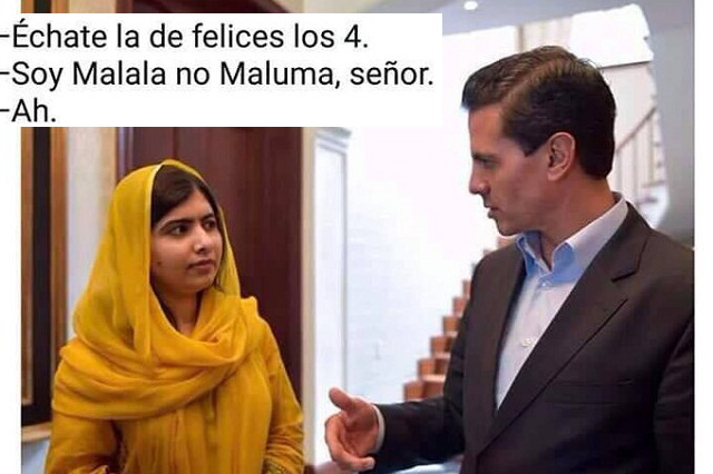 No se resistieron y usuarios de redes crean memes de Malala y Peña Nieto