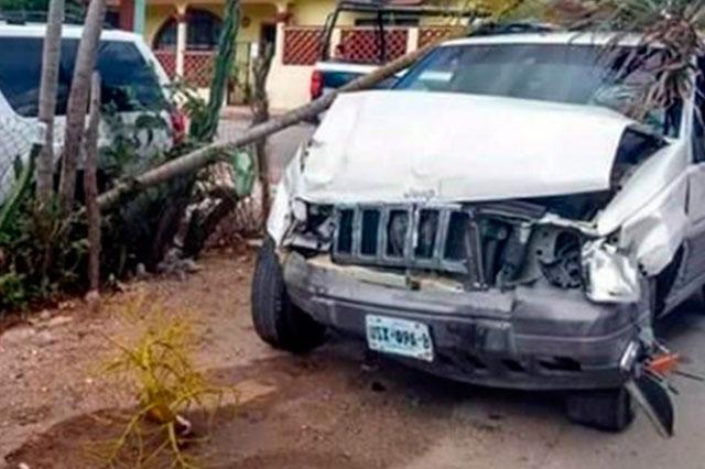 El gobierno aseguró que Calderón fue el que estrelló la camioneta