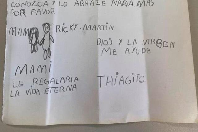 Thiago, el niño que desea que su mamá con cáncer conozca a Ricky Martin