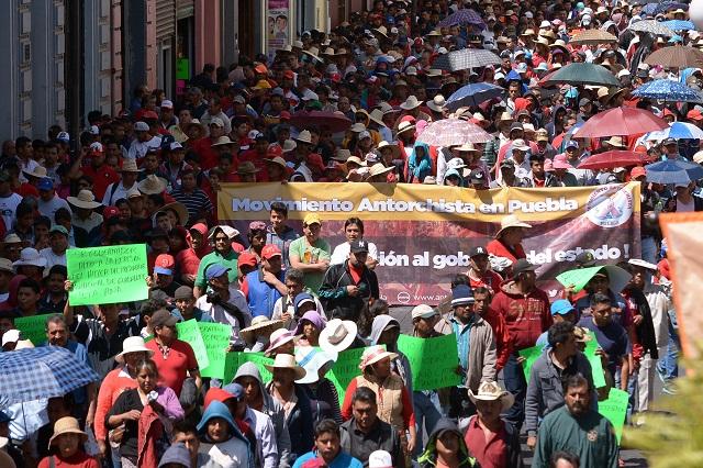 Manifestaciones de Antorcha vuelven a colapsar Puebla