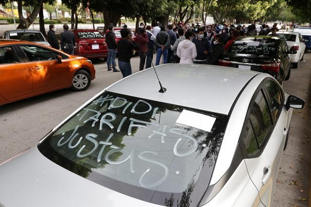 Choferes van por nuevas protestas a falta de acuerdos con DiDi Puebla