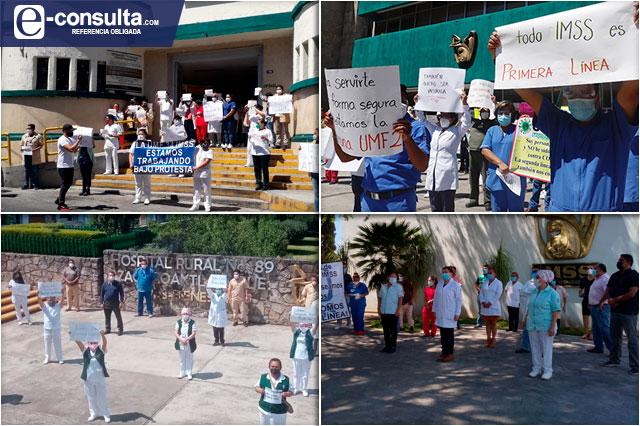 Exigen trabajadores del IMSS vacunas y segundas dosis anti Covid