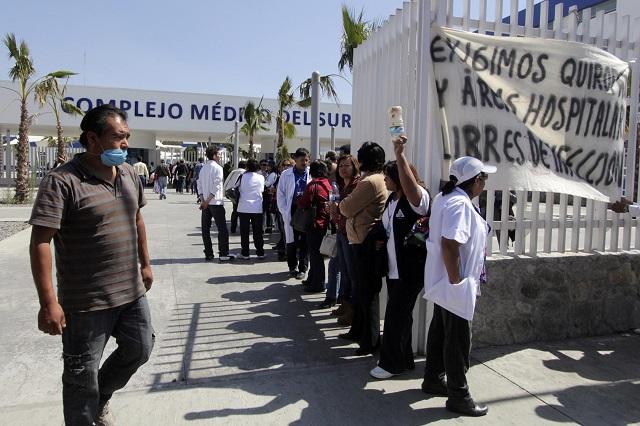 Ni lavado de manos garantizan hospitales poblanos frente a Covid-19