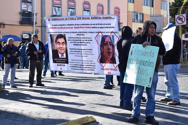 En protesta por detenciones, Naranjitas colapsan centro de Puebla