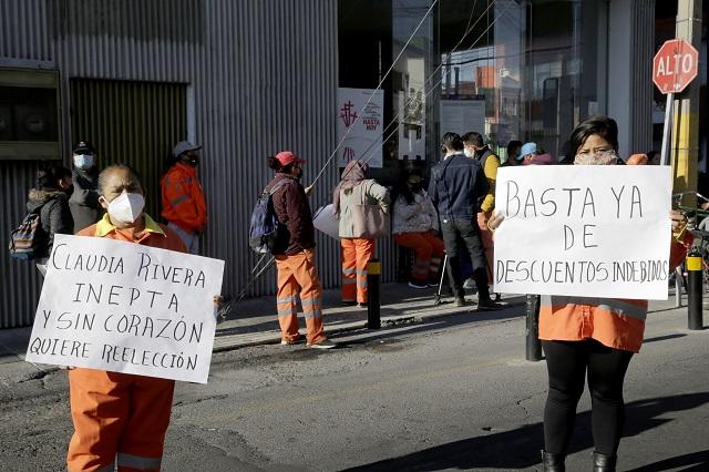 Protestan naranjitas en Puebla por despidos y escasa protección