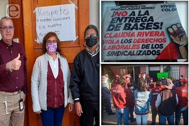 Contra las 100 bases de Claudia Rivera protestan sindicalistas