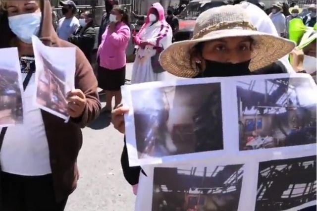Protestan Cuetzaltecos por falta de apoyos tras paso de Grace