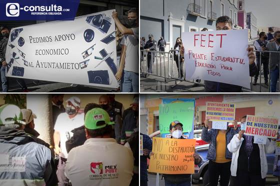 Protestan en las calles estudiantes, locatarios, fotógrafos y carteros