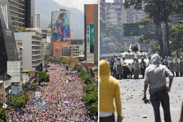 Policías atacan con balas de goma a manifestantes venezolanos