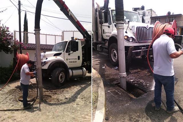 Agua de Puebla realiza mantenimiento en drenaje de la ciudad de Puebla