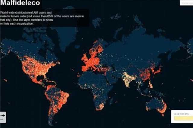 Crean mapa para ubicar a usuarios de Ashley Madison