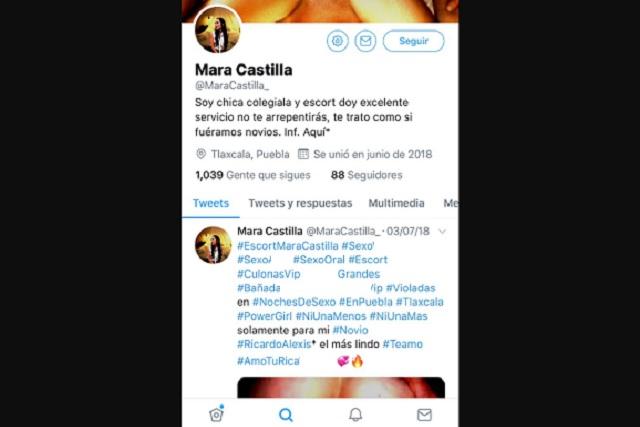Usan foto y nombre de Mara Castilla para Twitter de presunta scort