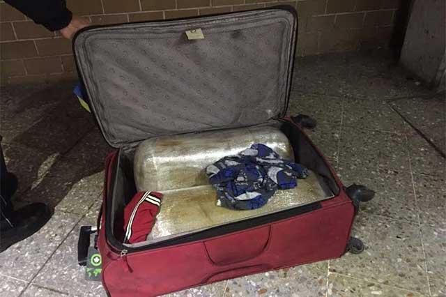 Perros detectan a usuario de la CAPU con maleta llena de mariguana