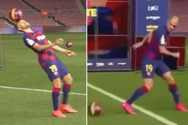 Video: Martin Braithwaite hace el ridículo durante su presentación con el Barça
