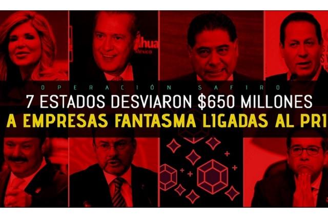 Operación Safiro: 7 estados desviaron 650 mdp a empresas ligadas al PRI