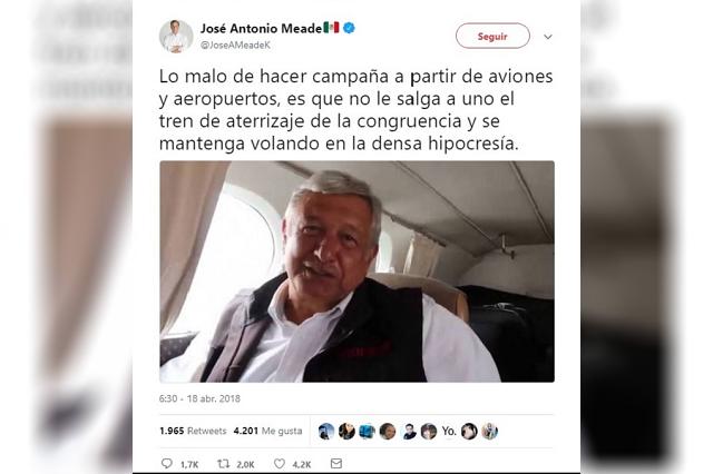 Meade afirma que a AMLO le falla el tren de aterrizaje de la congruencia