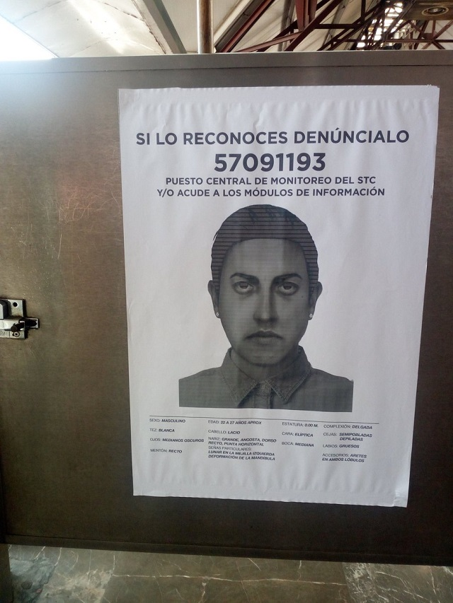 Pegan retrato de secuestrador en vagones de la Línea B del Metro
