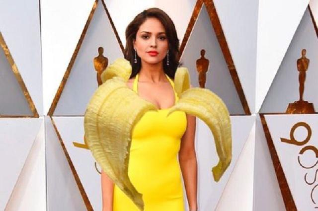 Burlas y memes para Eiza González y su vestido amarillo en los Oscar