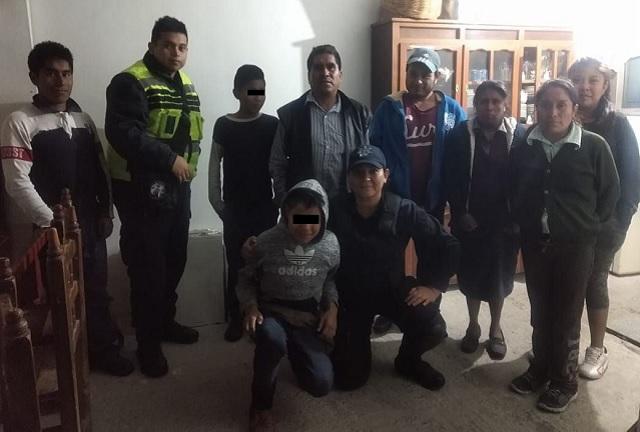 Localiza policía de San Pedro Cholula a menor extraviado
