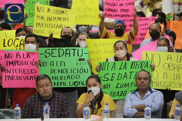 Niegan acuerdo en mercado de Amalucan y rechazan obra