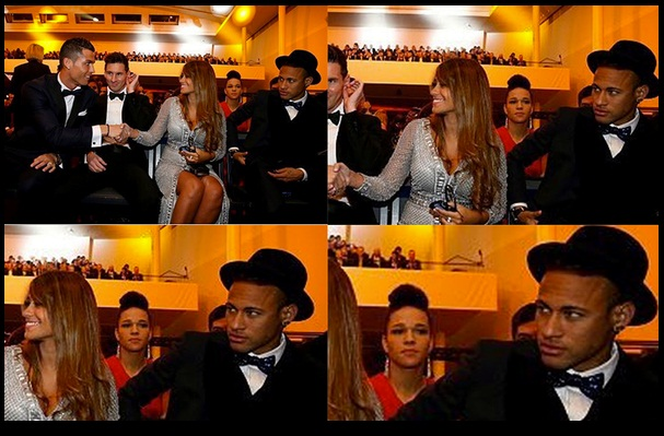 Cristiano Ronaldo saluda a esposa de Messi ante mirada de Neymar