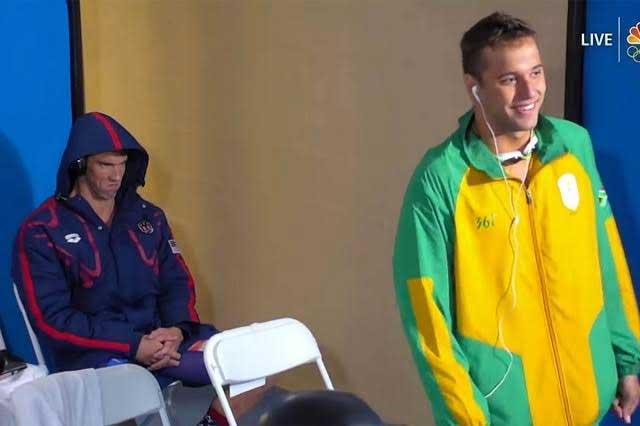 ¿Qué canción escuchaba Phelps cuando mostró una mirada asesina?